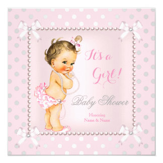 Baby Shower Girl Pink Gray Pearl Brunette Card