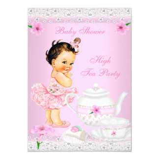 """Baby Shower Girl Pink High Tea Party Brunette 4.5"""" X 6.25"""" Invitation Card"""