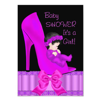 Baby Shower Girl Pink Magenta Purple Shoe 4.5x6.25 Paper Invitation Card