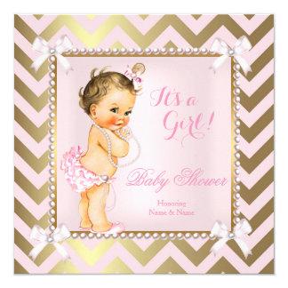 "Baby Shower Girl Pink Pearl Gold Chevron Brunette 5.25"" Square Invitation Card"
