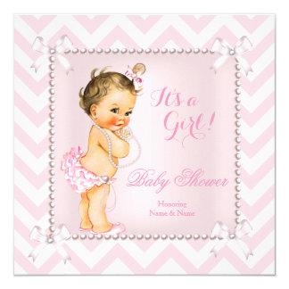Baby Shower Girl Pink Pearl White Chevron Brunette Card
