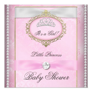 Baby Shower Girl Pink Princess Tiara Diamond Card
