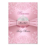 "Baby Shower Girl Pink Princess Tiara lace SML 3.5"" X 5"" Invitation Card"