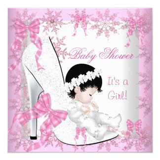 "Baby Shower Girl Pretty Pink Snowflakes Shoe 5.25"" Square Invitation Card"