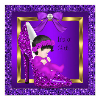 Baby Shower Girl Purple Glitter Shoe Invitations