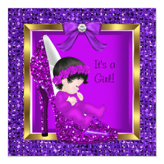 Baby Shower Girl Purple Pink Baby in Shoe 5.25x5.25 Square Paper Invitation Card