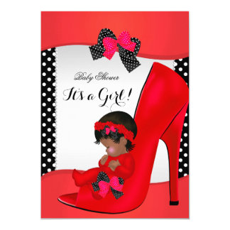 "Baby Shower Girl Red Baby Shoe Polka Dots 2 5"" X 7"" Invitation Card"