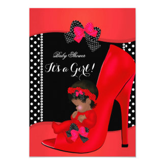 "Baby Shower Girl Red Baby Shoe Polka Dots 2a 5"" X 7"" Invitation Card"