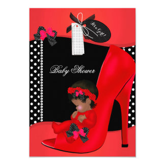 "Baby Shower Girl Red Baby Shoe Polka Dots 2B 5"" X 7"" Invitation Card"