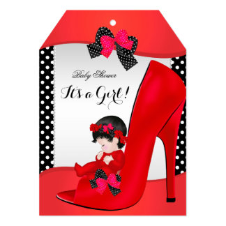 "Baby Shower Girl Red Baby Shoe Polka Dots 5"" X 7"" Invitation Card"
