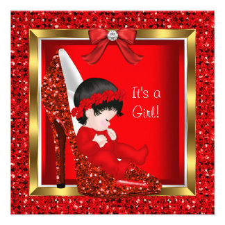 Baby Shower Girl Red Glitter Cute Baby in Shoe Custom Announcement