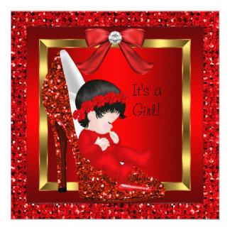 Baby Shower Girl Red Glitter Shoe Announcement