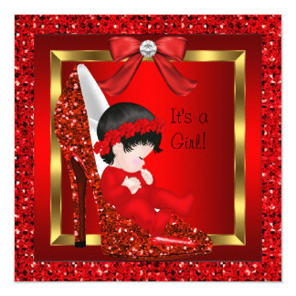 "Baby Shower Girl Red Glitter Shoe 5.25"" Square Invitation Card"