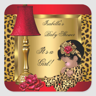 Baby Shower Girl Red Gold Roses Leopard AA Square Sticker