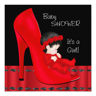 Baby Shower Girl Red High heel Shoe 5.25x5.25 Square Paper Invitation Card