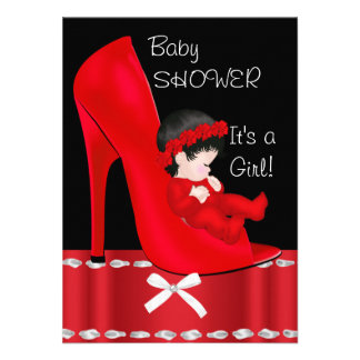 Baby Shower Girl Red High Heel Shoe Invite