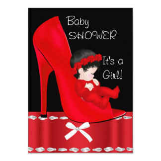 Baby Shower Girl Red High Heel Shoe 4.5x6.25 Paper Invitation Card