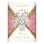 "Baby Shower Girl White Pink Princess Damask 4.5"" X 6.25"" Invitation Card"