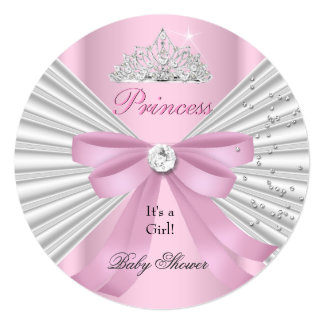 "Baby Shower Girl White Pink Princess Tiara ab 5.25"" Square Invitation Card"