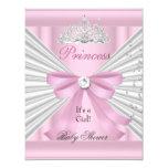 "Baby Shower Girl White Pink Princess Tiara 4.25"" X 5.5"" Invitation Card"