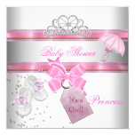 "Baby Shower Girl White Pink Princess Tiara Magical 5.25"" Square Invitation Card"
