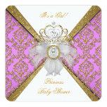 Baby Shower Girl White Purple Princess Damask Personalized Invitation