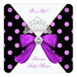 Baby Shower Girl White Purple Princess Polka Dot Invites