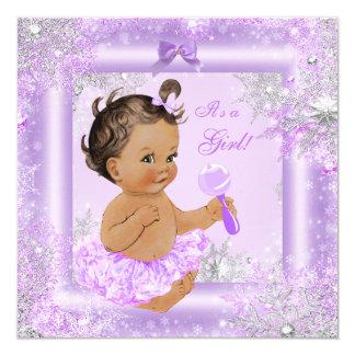 Baby Shower Girl Winter Lavender Snowflake Brunett Card