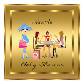 """Baby Shower Gold and Gold Frame 5.25"""" Square Invitation Card"""