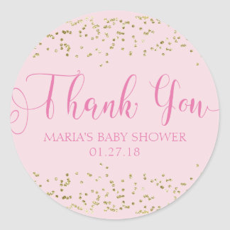 Baby Shower Gold Confetti Pink Favor Thank You Tag