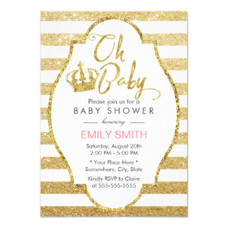 baby shower gold crown modern gold glitter stripes card