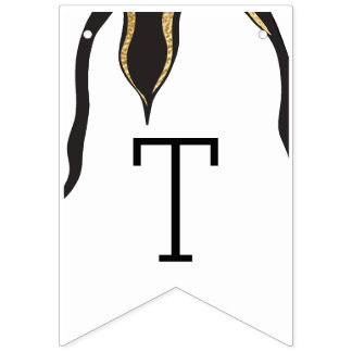 Baby Shower Gold Penguin, Swallowtail Banner