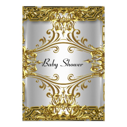 Baby Shower Gold Silver Neutral Personalized Invitations