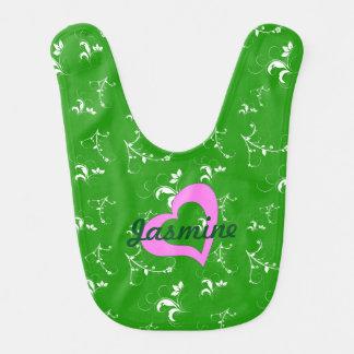 Baby shower green floral baby bib
