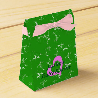 Baby shower green floral favor boxes