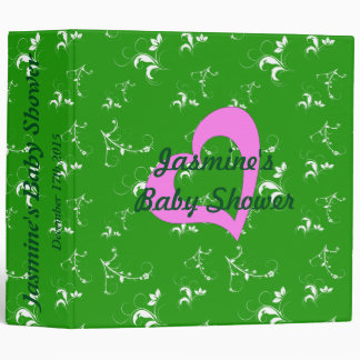 Baby shower green floral vinyl binder