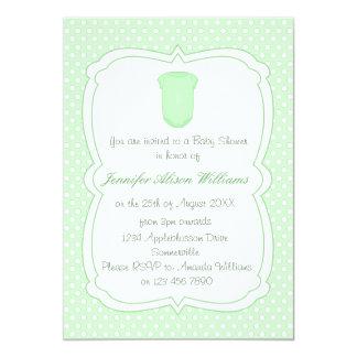 Baby Shower Green Polka Dots and Babygrow 5x7 Paper Invitation Card