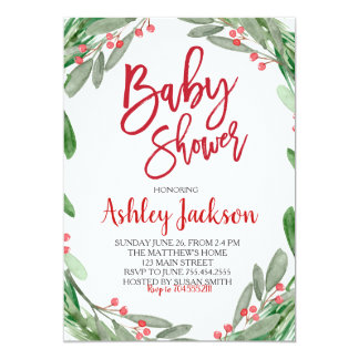 Baby Shower Greenery Wreath Invitation