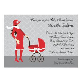 Baby shower gris et rouge d'hiver élégant carton d'invitation  12,7 cm x 17,78 cm