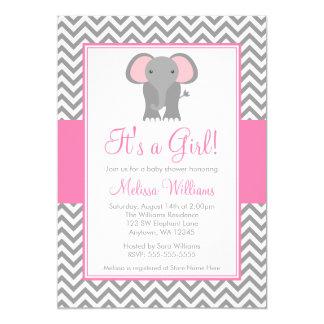 Baby shower gris rose de fille de Chevron Carton D'invitation 12,7 Cm X 17,78 Cm