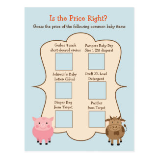 Baby Shower Guess the Price Game- Farm Animals Postcard