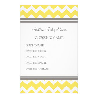 Baby Shower Guessing Game Yellow Chevron Personalized Stationery