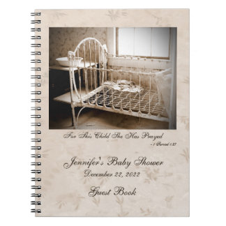 Baby Shower Guest Book, Vintage Crib Notebook