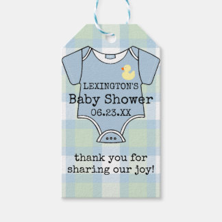 Baby Shower Guest Favor Thank You In Blue Plaid Gift Tags