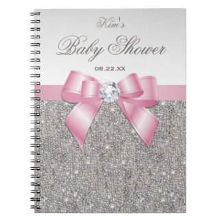 Baby Shower Guestbook Faux Silver Sequins Pink Bow Notebook