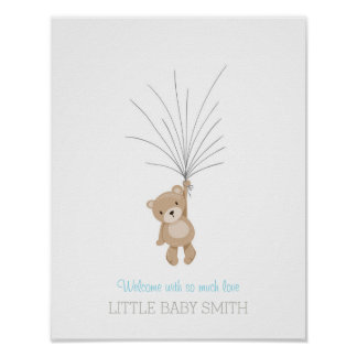 Baby shower guestbook Teddy Bear blue Poster