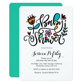 Baby Shower, Hand Lettered Design Card