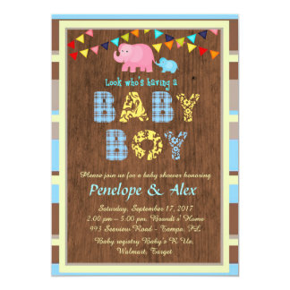 Baby Shower honoring Boy, wood, country, color Card