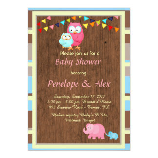 Baby Shower honoring Girl, wood, country, color Card