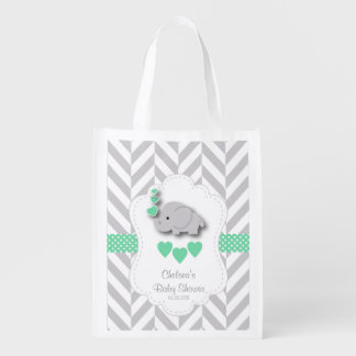 Baby Shower in Gray Chevron and Green Elephant Reusable Grocery Bag